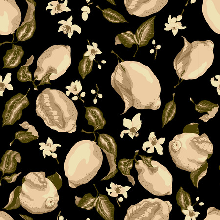 Sepia Color Seamless Pattern with lemon tree fruits on the branches with leaves and flowers, juicy freshness