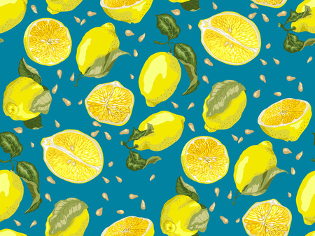 Seamless Pattern with lemon fruit, halves anf slices. There are seeds and leaves also. Blue background for brightness