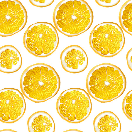 Seamless pattern with citrus orange fruit circles made in vector graphic design drawing in bright summer  juicy fruit colors