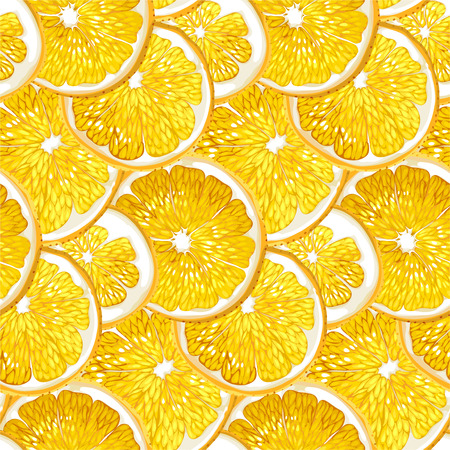 Orange seamless pattern with fruit citrus circle slices made in draphic vector design drawing in realistic style