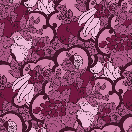 Seamless pattern with abstract curls, fruits and berries in pink and magenta colors. There is a snail and mint also in vector graphic illustration