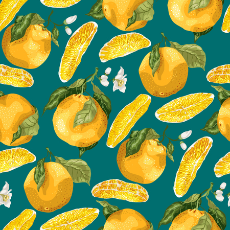 Seamless pattern with orange fruits and slices. Blooming flowers on the branches of fruits in graphic vector illustration on green marine  background