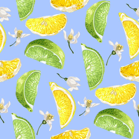 Seamless summer pattern with citrus slices of lemon and lime tree fruits and flowers in realistic vector illustration in bright colors