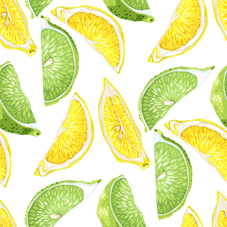 Seamless summer pattern with citrus slices of lemon and lime tree fruits in realistic vector illustration in bright colors Illustration