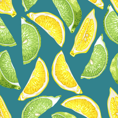 Seamless pattern with citrus slices of lemon and lime tree fruits in realistic vector illustration in bright colors