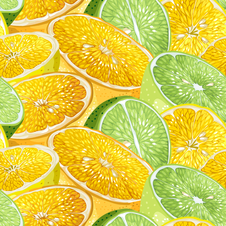Seamless pattern with citrus tree fruits like orange, lemon and lime with seeds in realistic vector graphic illustration in bright colors Illustration