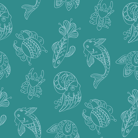 Seamless pattern in marine themes with wild sea animals and fishes in ornamental graphic vector illustration in decorative design