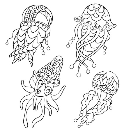 Coloring pages in vector graphic illustration for children and adults with ocean animals such as jellyfish, plankton and others