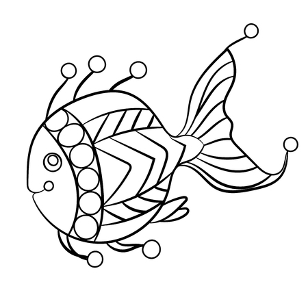 Fish in coloring page for childrean and adults in ornamental graphic vector illustration with beads and decorative curls