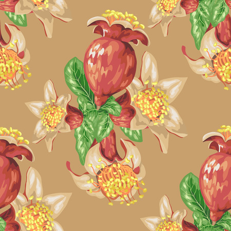 Blooming fruit flower of pomegranate tree in seamless pattern in realistic vector graphic iilustration