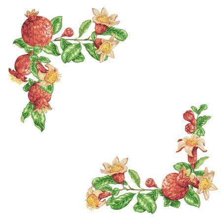 Granatapfelzweige mit Blumen und Früchten
