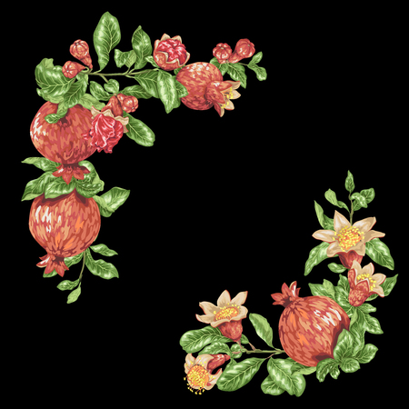 Corner frame decorative vector element with pomegranate fruits and flowers in graphic design illustration