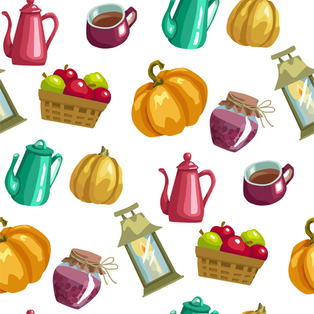 Harvest season seamless vector pattern with household elements anf food in bright colors in graphic design illustration Illustration