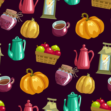 Harvest season seamless vector pattern with household elements anf food in bright colors in graphic design illustration Illusztráció