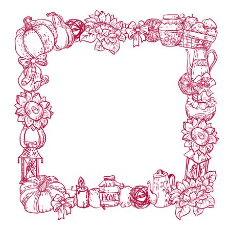 Decorative vector square border frame with houdehold harvest season stuff in graphic design illustration