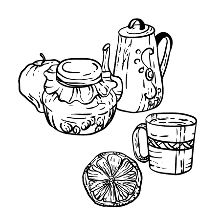 Coloring page in vector with household autumn elements in decorative illustration Illusztráció