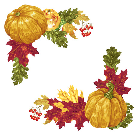 Harvest season and thanksgiving square frame elements in vector such as pumpkins, red berries, maple leaves and oak leaves Illustration
