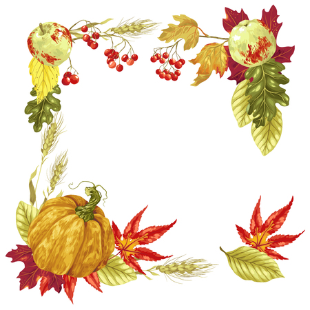 Decorative Vector frame for harvest season and Thanksgiving day with a lot of elements such as leaves and fruits Illustration