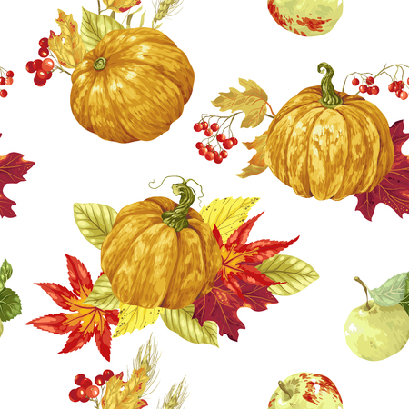 Seamless pattern with bright harvest season elements in bright colors