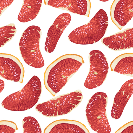 Seamless pattern in vector with citrus fruit slices such as blood orange, pomelo and grapefruit