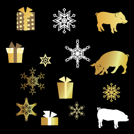 VectorSet with pig silhouette, presents and golden snowflakes in graphic design illustration