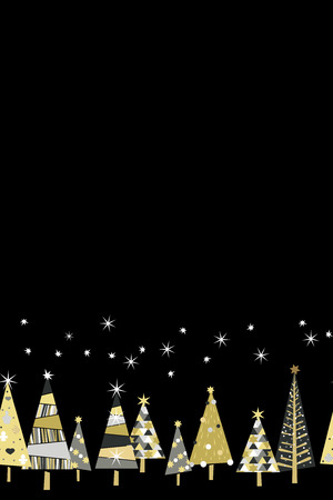 Vector seamless pattern with golden spruce trees and stars in design illustration Illustration