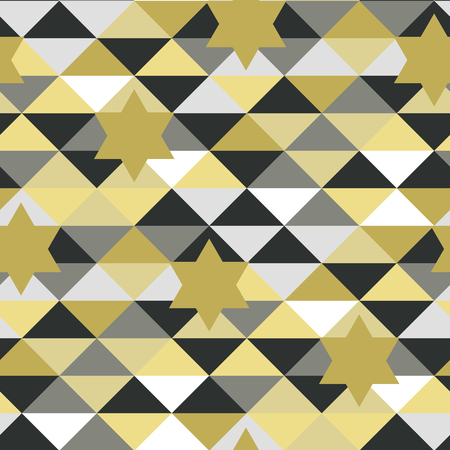 Seamless abstract pattern in vector with stars in a shape of gold David star
