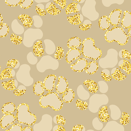 Vector semless golden sparkle pattern with dogs theme elements in graphic design illustration