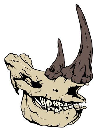 Graphic with a rhino skull