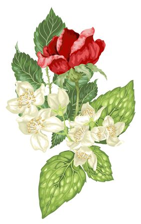 Decor element in vector graphic illustration with jasmine and rose flowers