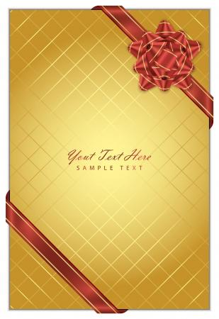 ruban or: Fond d'or Vecteur avec l'arc rouge Illustration