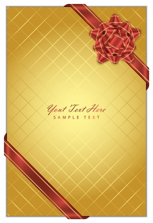 Vector gold background with red bow Stock Vector - 11446772