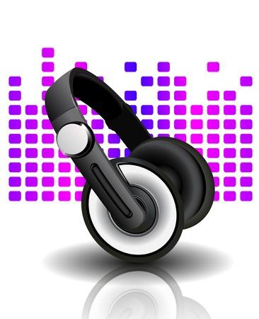 fiestas electronicas: Ilustraci�n vectorial de los auriculares Vectores