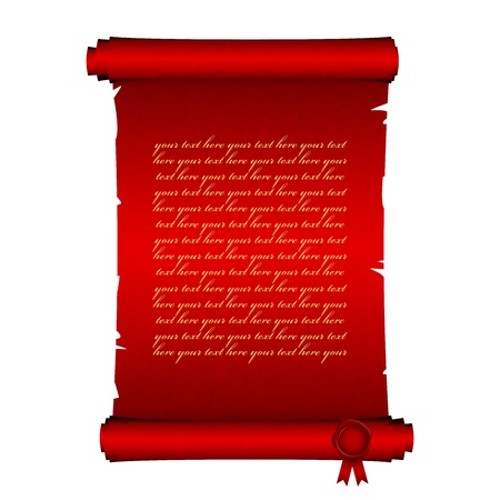 approval: Vector illustration of red scroll Illustration