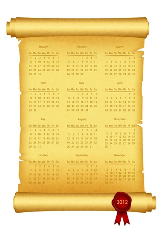 2012 Calendar on scroll Vector