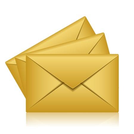 envelope with letter: Illustrazione vettoriale di buste d'oro Vettoriali