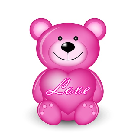 Vector illustration of pink bear with heart Stock Vector - 11996667