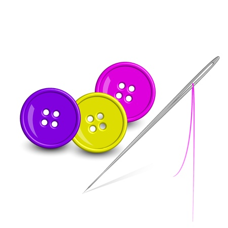 old items: Vector illustration of colorful buttons & needle Illustration
