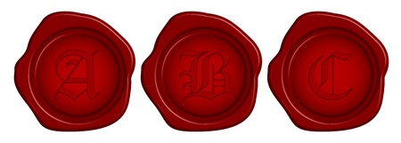 Vector wax seal with letter Vector