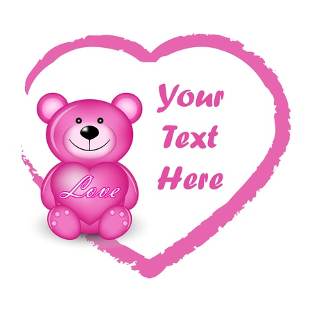 Vector illustration of pink bear with heart Vector