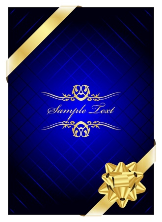 Vector blue background with gold bow Vector