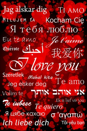 I love you in different languages - valentine card Vector