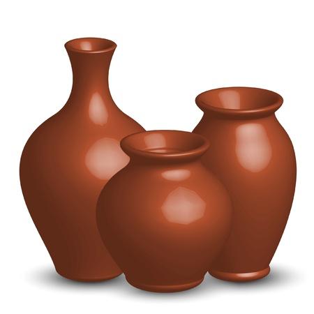 ollas de barro: Ilustraci�n vectorial de jarrones Vectores