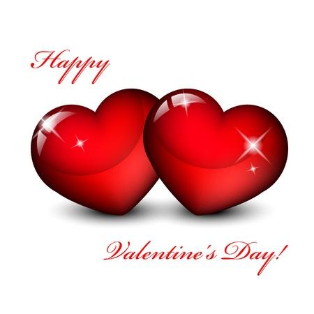 Vektor-Illustration von zwei roten Herzen