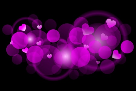 Pink blur - Vector background with hearts Vector