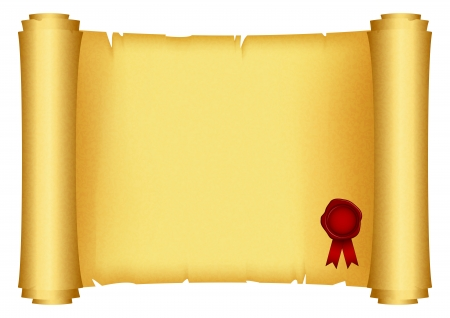 certificates: Vector illustration of scroll with red stamp