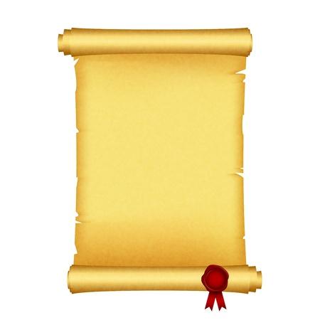 papiro: Illustrazione vettoriale di scorrimento con sigillo di cera rossa Vettoriali