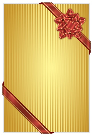 Vector gold background with red bow Vector