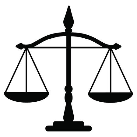 Illustrazione vettoriale di bilancia della giustizia Vettoriali