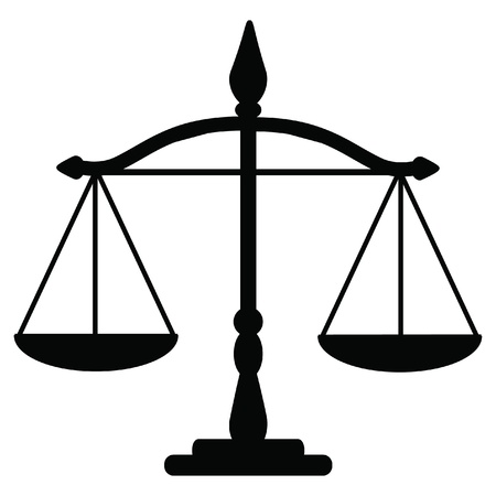 trial balance: Vector illustration of justice scales